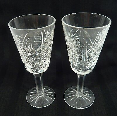 "2 Signed WATERFORD CRYSTAL Sherry Glasses  CLARE Pattern 5 1/8"" liquor Drink"