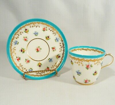 Antique 1858 MINTON Teacup & Saucer A2313 Blue w/ Hand Painted Floral Pansy Rose