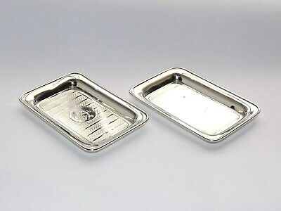 Antique Art Deco Solid Silver Sterling Pair Of Butter / Pin Dishes B/Ham 1919