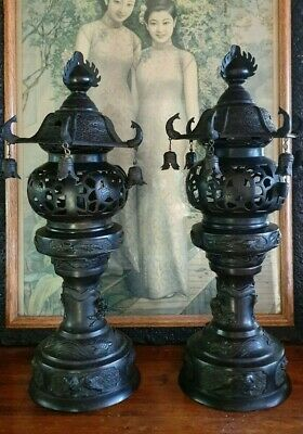 Vintage pair Japanese Bronze Buddhist Lamps / Lanterns