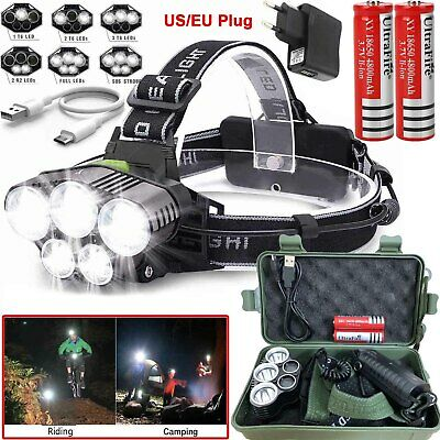 Powerful 100000LM T6 LED Headlamp Headlight Torch Rechargeable Flashlight 18650