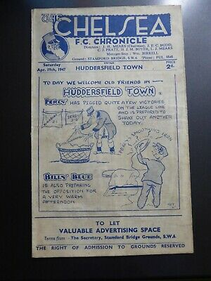 Chelsea v Huddersfield Town 1946/47 Old First Division RARE Good
