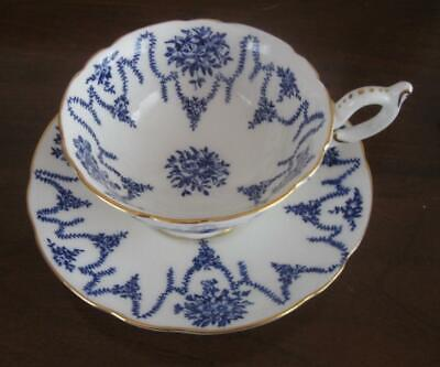 VINTAGE COALPORT Cobalt Blue Floral Bouquets & Swags on White Wide Cup & Saucer