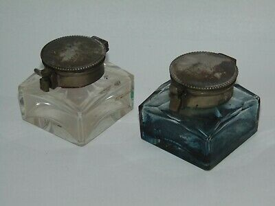 PR ANTIQUE SQUARE FACET CUT GLASS INKWELLS with SPRUNG HINGED LIDS WRITING SLOPE