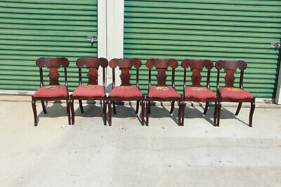 Outstanding Set of Six Classical Empire Flame Mahogany Dining Chairs Ca.1890