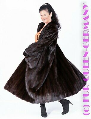Xl Finest Female Mink Superb Black / Brown Long Fur Coat A-Line