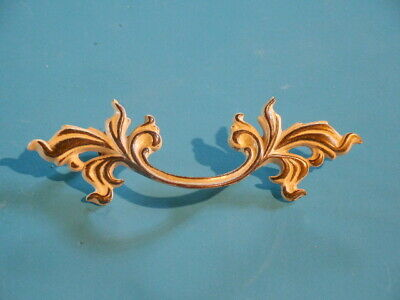 Vintage French Provincial Drawer Pull Handle Antique Gold - Solid Brass