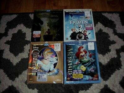 Disneys The Jungle Book Cinderella The Little Mermaid Frozen Blu-Ray+Dvd Dvds