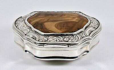 Antique Scottish George II Solid Silver & Agate Snuff Box, Peter Wigman c1740