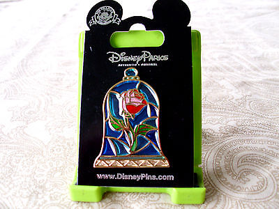 Disney * STAINED GLASS ROSE * Beauty & Beast * New on Card BATB Trading Pin