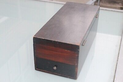 Antique Vintage Wooden Storage Box Drawer Dark Wood Solid Mahogany Oak Vgc