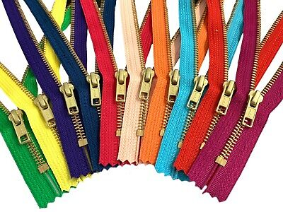 Metal Zippers- YKK #5 Closed Bottom Golden Brass Teeth for Sewing Crafts Pouches