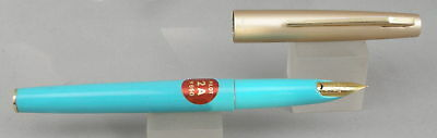 Pilot 2A Turquoise w/ Satin Gold Cap Fountain Pen - Mint New-Old-Stock - 1970's