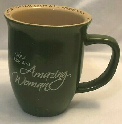 Abbey Gift You Are An Amazing Woman  Ceramic Coffee Mug / Cup Green No Lid