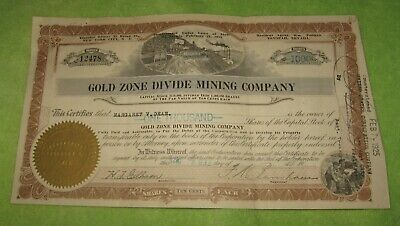 Gold Zone Divide Mining Company Stock Certificate Nevada 1925