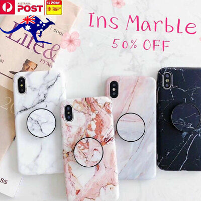 Ins Marble Put Up Holder Soft Case Cover For Apple iPhone 6 7 8 Plus XS MAX XR X