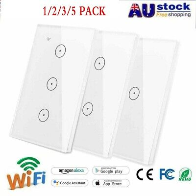 Smart WIFI Wall Light Touch Panel Switch App Timing Socket For Alexa Google Home