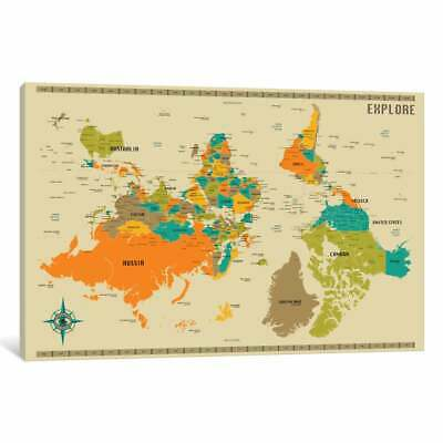 iCanvas 'Upside Down New World Map' by Jazzberry Blue Canvas Print