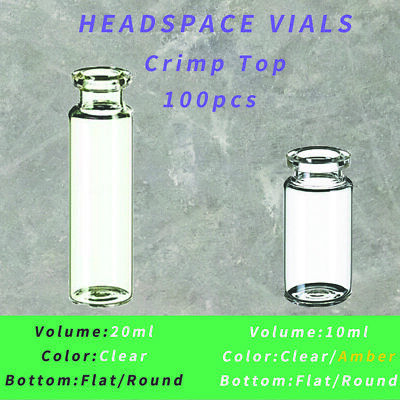 20mm Crimp Neck Vials Bevelled 10ml/20ml,Clear/Amber,Flat/Round Bottom 100pcs