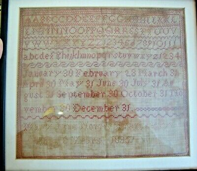 Framed needlework sampler with alphabets and days of month by Mary Jane 1895