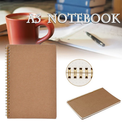 100Pages A5 Design Dotted Grid Spiral Notebook Kraft Cover Coil Notepad Journal