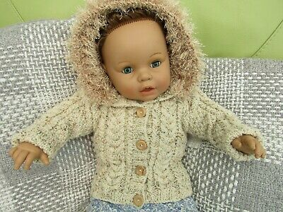 """Hand Knit Chunky Aran Cardigan / Jacket / Hoodie Chest 20"""" Approx 6-12 Month New"""