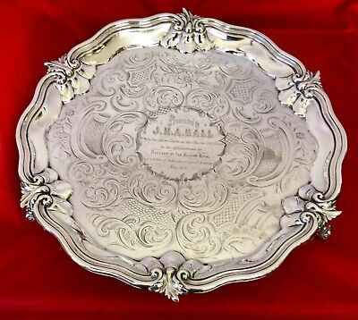 Antique LONDON Solid Silver Salver Tray Charles Reily & George Storer 1840 719g