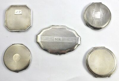 Lovely Collection Of 5 Solid English Silver Compact Mirror Makeup