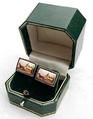 Rare Sterling Silver & Enamel HORSE AND CARRIAGE Cufflinks  Cuff Links