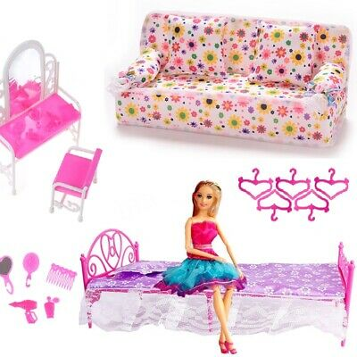 Fashion Pink Bed Dressing Table & Chair Set For Barbies Dolls Bedroom Furniture