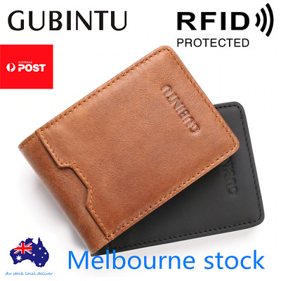 Bifold Credit Card Holder Genuine Leather Wallet Slim Mens RFID Blocking Purse