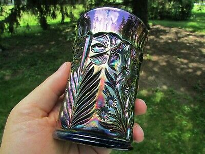 Riihimaki TIGER LILY ANTIQUE CARNIVAL GLASS TUMBLER ~ BLUE! ABSOLUTELY GORGEOUS!