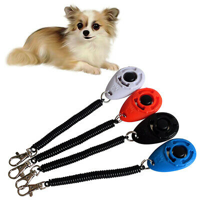 🔥4PCS Dog Training Clicker Click Button Trainer Pet Cat Puppy Obedience Aid
