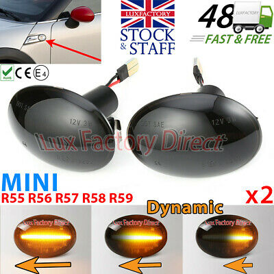 LED DYNAMIC Repeater TINTED BLACK Side Indicator Flasher BMW MINI LUXFACTORY
