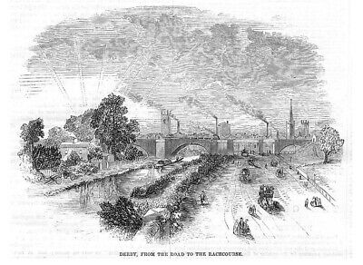 DERBY view of the Town from the Racecourse Antique Print 1859