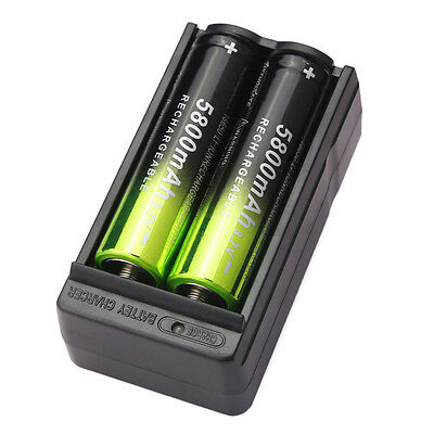 2pcs SKYWOLFEYE 5800mAh Li-ion 3.7V 18650 Rechargeable Battery Batteries+Charger
