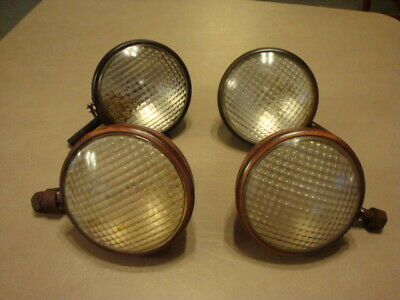 4 Antique Vintage Farm TRACTOR LIGHTS Driving Headlights With Guide Tractor Lens