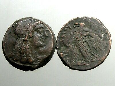 Ptolemy VI AE26 Diobol______PORTRAIT OF CLEOPATRA I AS ISIS______Ancient Egypt