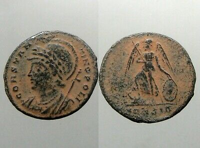 CONSTANTINOPE COMMEMORATIVE BRONZE AE FOLLIS_____Ancient Rome____VICTORY ON PROW