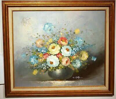 vintage oil painting T Kelly signed framed floral still life mid-century 1950s
