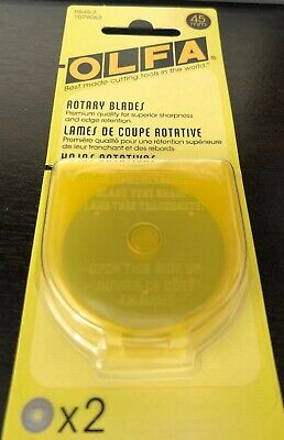 Olfa 45mm Rotary Cutter Replacement Blade 2 Count Quilting Sewing NIP Blades New
