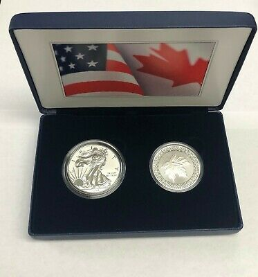2019 US MINT & ROYAL CANADIAN MINT 2 OZ SILVER PRIDE OF TWO NATIONS  -In Hand-