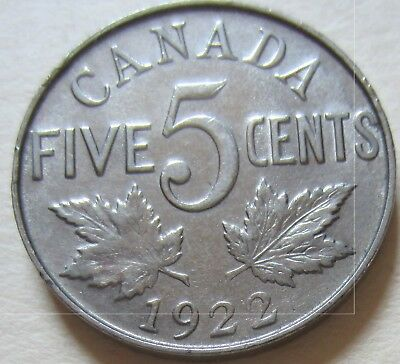 1922 Canada Five Cent Coin. George V Nickel EF NICE GRADE (RJ959)