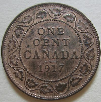 1917 Canada Large Cent Coin. George V 1 Penny R/B UNC NICE GRADE (C219)