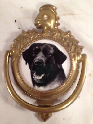 VINTAGE Solid Brass Knight Black Labrador Door Knocker Dog Lab