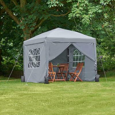2.5M Grey Pop Up Gazebo & Weights Outdoor Garden Tent Marquee Canopy Party Cover