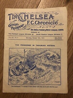 The Chelsea Chronicle Programme V Liverpool 1913. Pre War, Very rare.