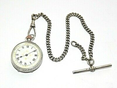 Edwardian Solid Silver Pocket Watch Ladies Swiss 7 Jewel Chain & T-Bar Ldon 1910