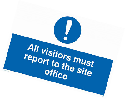 "Viking Signs MC5397-A2L-3M""All Visitors Must Report To Site Office"" Sign, 3 mm P"