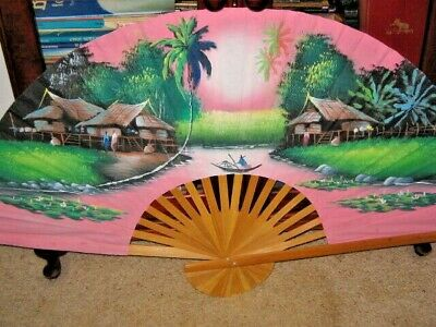 Hand Painted Fan Bamboo Paper Homes People Fishing Singapore Lg Colour Display
